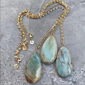 Amazonite 22K gold pendant necklace